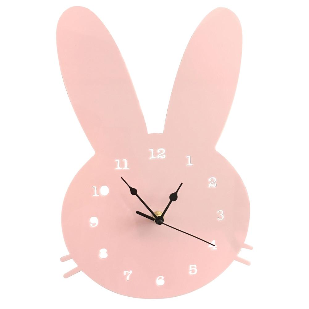 Rabbit Shaped Wall Clock Mute Running Nursery Boys Girls Office Livingroom Nordic Decoration Bedroom Home Kids Wooden Modern