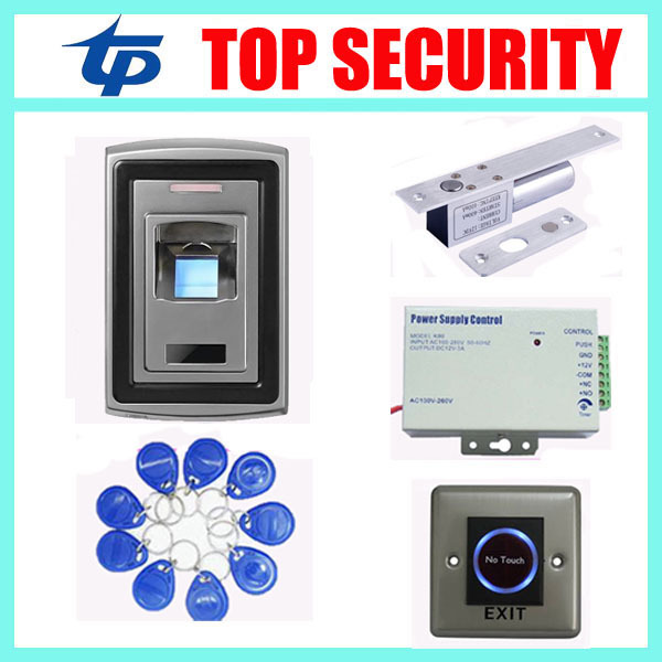 Waterproof metal fingerprint reader fingerprint access control system with power supply,electric lock,PC exit button,RFID key