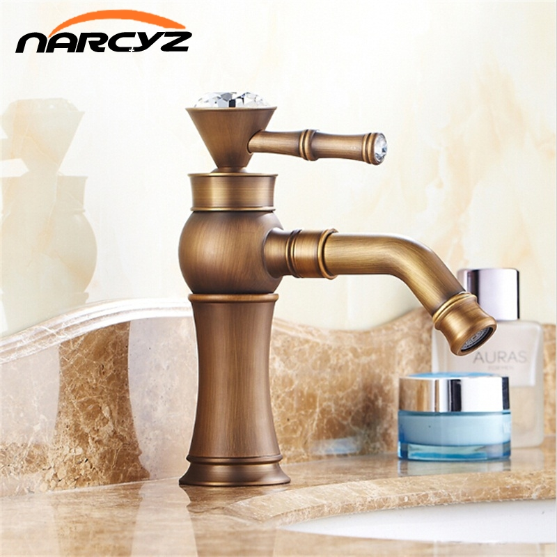8 Antique Brass & Crystal Handle Rotable Spout Bathroom Basin Brass Faucet Mixer Tap Swivel AF1014 antique brass swivel spout dual cross handles kitchen