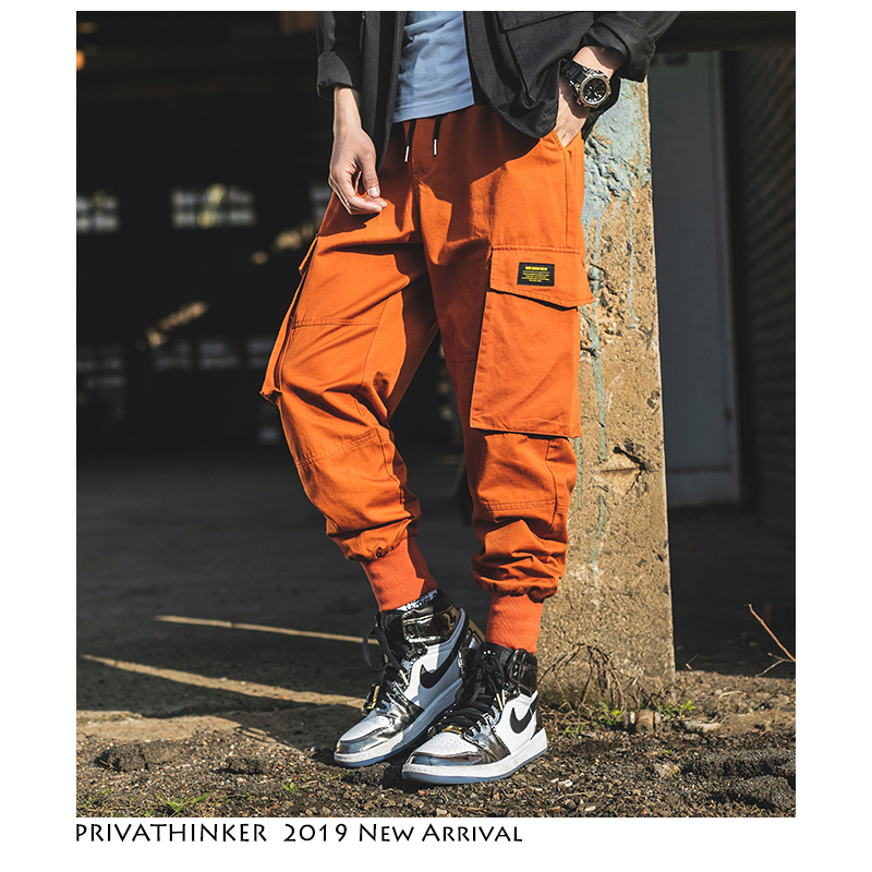 Privathinker Men Japanese Streetwear Joggers Pants 2019 Man Orange Vintage Cargo Pants Males Casual Pocket Fashion Harem Pants