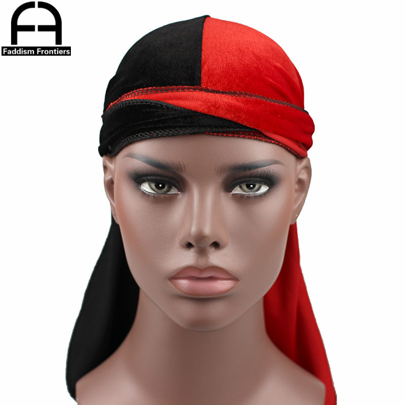 luxury men s velvet patchwork durags bandanas turban hat two tone