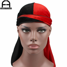 Luxury Men's Velvet Patchwork Durags Bandanas Turban Hat Two Tone Velvet Durag Biker Headwear Hat Headband Hair Accessories two tone geo print headband