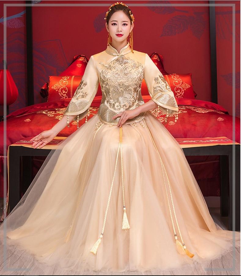 Oro Sposa Lungo Cheongsam Vestito Da Sera Del Ricamo fiore Matrimonio Tradizionale Qipao Cinese Marry Abiti Vestido Orientale
