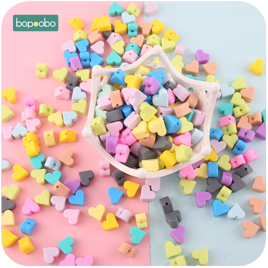 Bopoobo 30pc 14mm Silicone Beads Heart-shaped Food Grade Teether Diy Jewelry Sensory Toys Necklace Diy Crafts Food Grade Teether