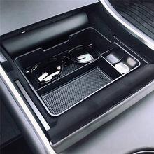 Acessórios do carro para tesla modelo 3 2017 2018 2019 centro console organizador inserção abs preto materiais bandeja