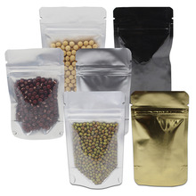 Stand Up Reclosable Zip Lock Pure Aluminum Foil Plastic Clear Package Pouch For Food Beans Snack Zipper Doypack Storage Pack Bag