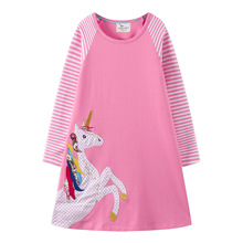 Toddler Girl Dress Stripe Long Sleeve Autumn Winter Cotton Basic Dress Outfit 3-8 Years