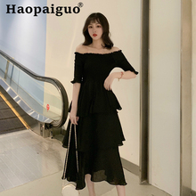 Slash Neck Cake Style Chiffon Summer Dress Women Corset Black Evening Party Midi Bodycon Clothes for