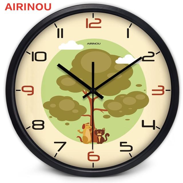 Airinou Cartoon Cute Animal Pet Shop Clock Cat And Dog Wall Clock No  Ticking Sound