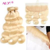 Alot 613 Brazilian Hair Weave Bundles With Frontal Human Hair 3 Bundles With Frontal Body Wave Blonde Bundle Deals With Closure