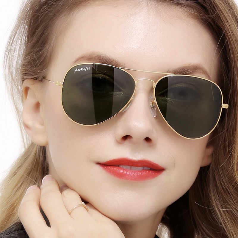 New Pilot UV400 Protection Classic Sunglasses Women Men Gold Frame Glass G15 Lens Glasses Scratch Proof AOOKO Sunglass 58mm 62mm
