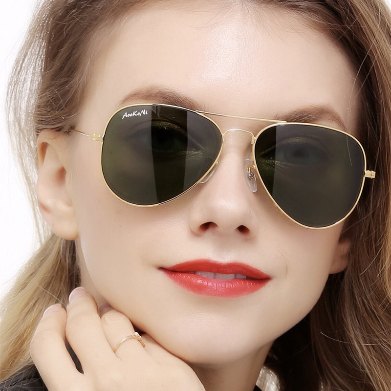 45561ad88 Detail Feedback Questions about New Pilot UV400 Protection Classic  Sunglasses Women Men Gold Frame Glass G15 Lens Glasses Scratch Proof AOOKO  Sunglass 58mm ...