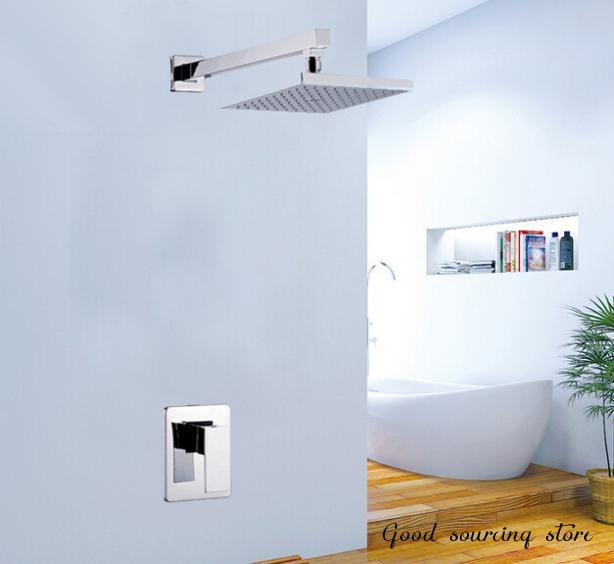 in-wall rainfall shower faucet set (brass valve, 20x20cm shower head)