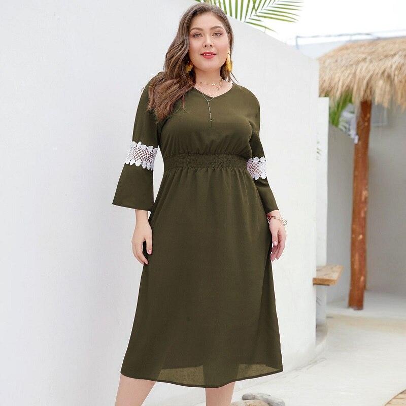 WHZHM Summer Beach Hollow Out Plus Size 3XL 4XL Chiffon Dress Women Long Flare Sleeve V
