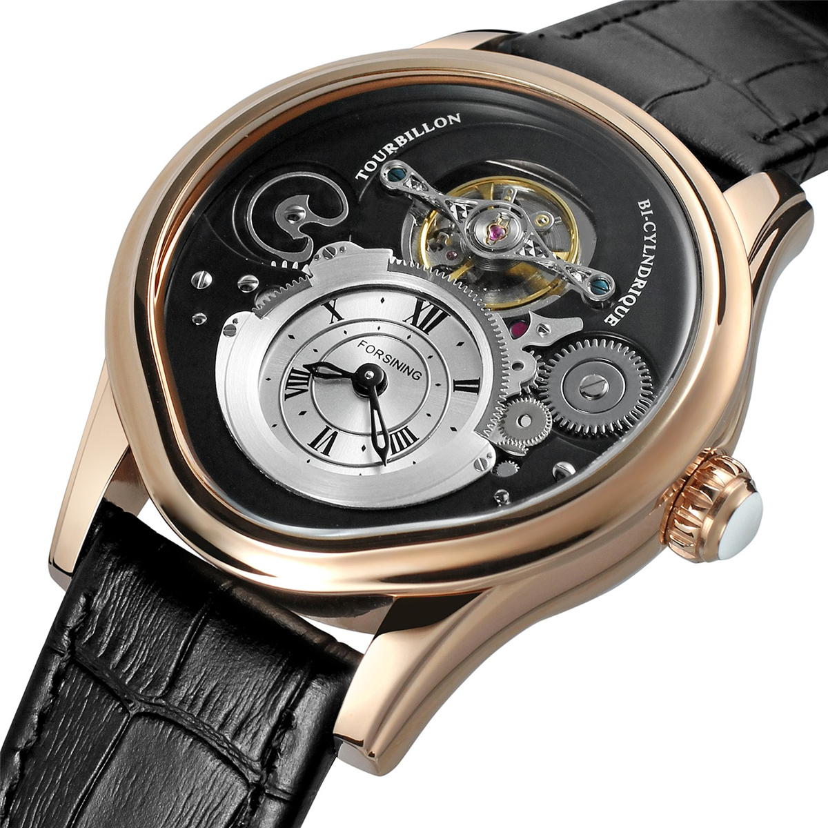 FORSINING Tourbillon Mens Top Brand Luxury Automatic Mechanical Watch Men Leather Strap Gold Case Business Waterproof Watches forsining famous brand watch 2018 new luxury men automatic watches gold case dial genuine leather strap fashion tourbillon watch