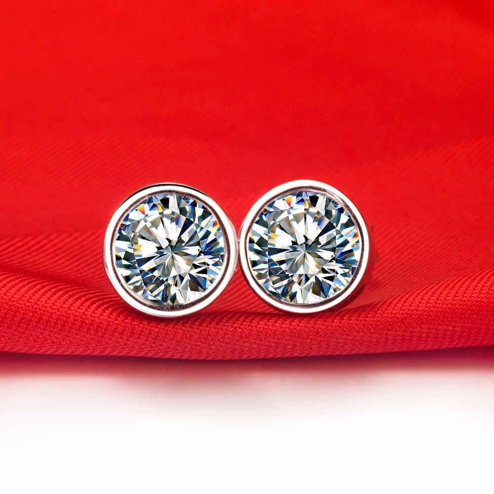 Pendientes de broche de diamantes sintéticos de forma redonda de Venta caliente de 1 CT para mujer joyería nupcial de boda de alta calidad, juego de aniversay para regalo