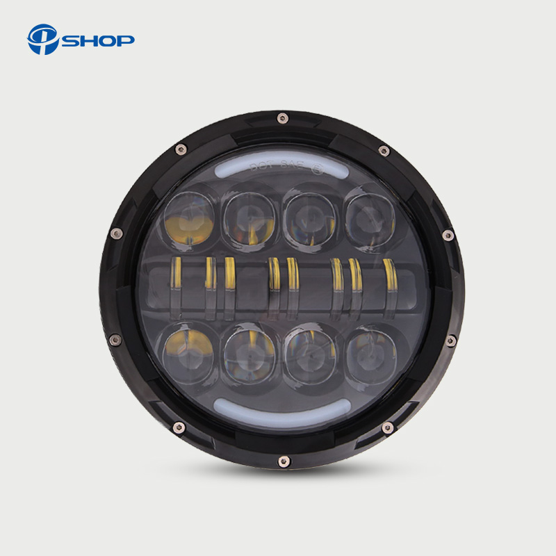 7 LED Headlight 12V 24V Hi/low 80W 50W Auto Headlight Angle Eye for Jeep Wrangler JK TJ Hummer Defender Toyota FordLada co light 7 led headlight 12v 24v hi low 50w 30w auto headlight angle eye for jeep wrangler jk hummer defender toyota ford lada
