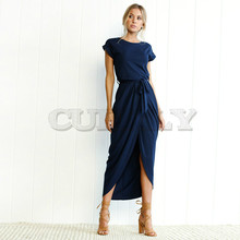 CUERLY 6 Colors Boho Split Long Dress Fashion Women O-Neck Maxi Summer Short Sleeve Solid With Belt XS-3XL