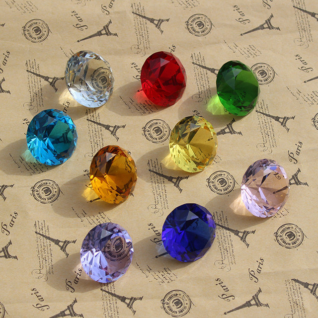 9pcs/set Sparkle Crystal Diamond 3cm Glass Gemstone Jewel Paperweight Feng Shui Home Decor Ornaments Wedding souvenirs Gifts 3