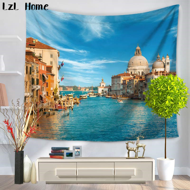 LzL Home Waterfront Modern City Scenery Tapestry Apartment Decor Wall Hanging Bedroom Livingroom Dorm Cover Tapestry Sky Blue image