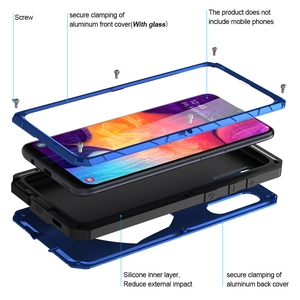 Image 3 - For Samsung Galaxy A50 A51 M51 Phone Case Hard Aluminum Metal with Tempered Glass Cover Silicon Cover For Galaxy A71