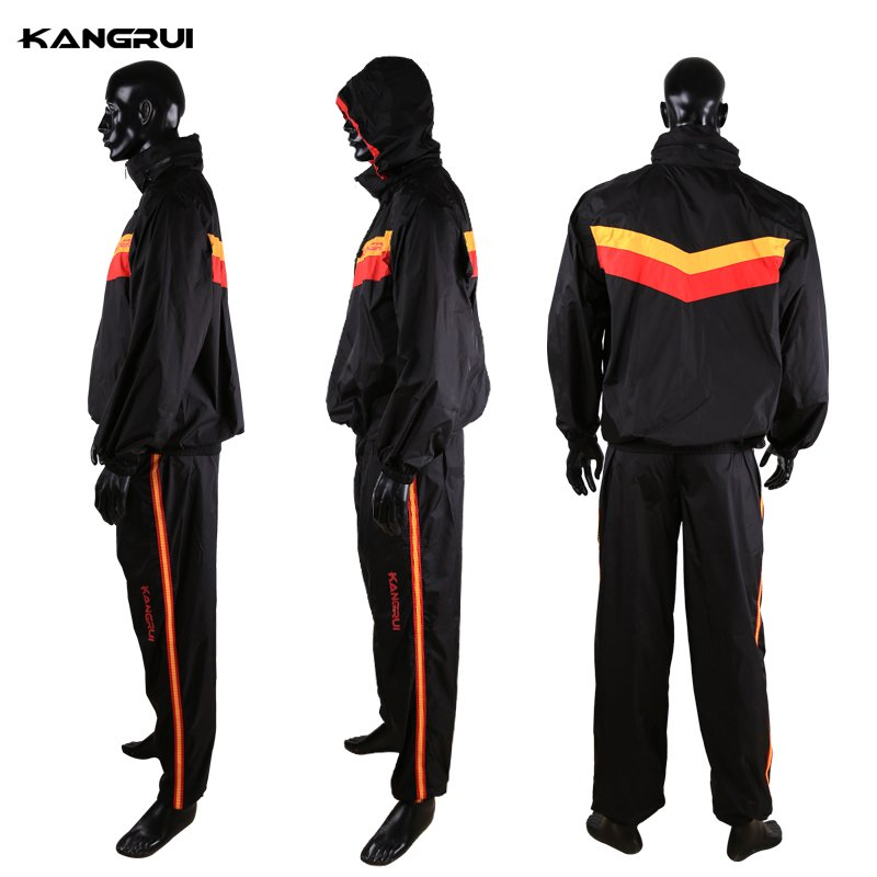 Waterproof unbreathable Red Sweat coat sauna suit male female running fitness uniform lose weight reduce body weight clothing heavy duty fitness weight loss sweat sauna suit exercise gym anti rip black