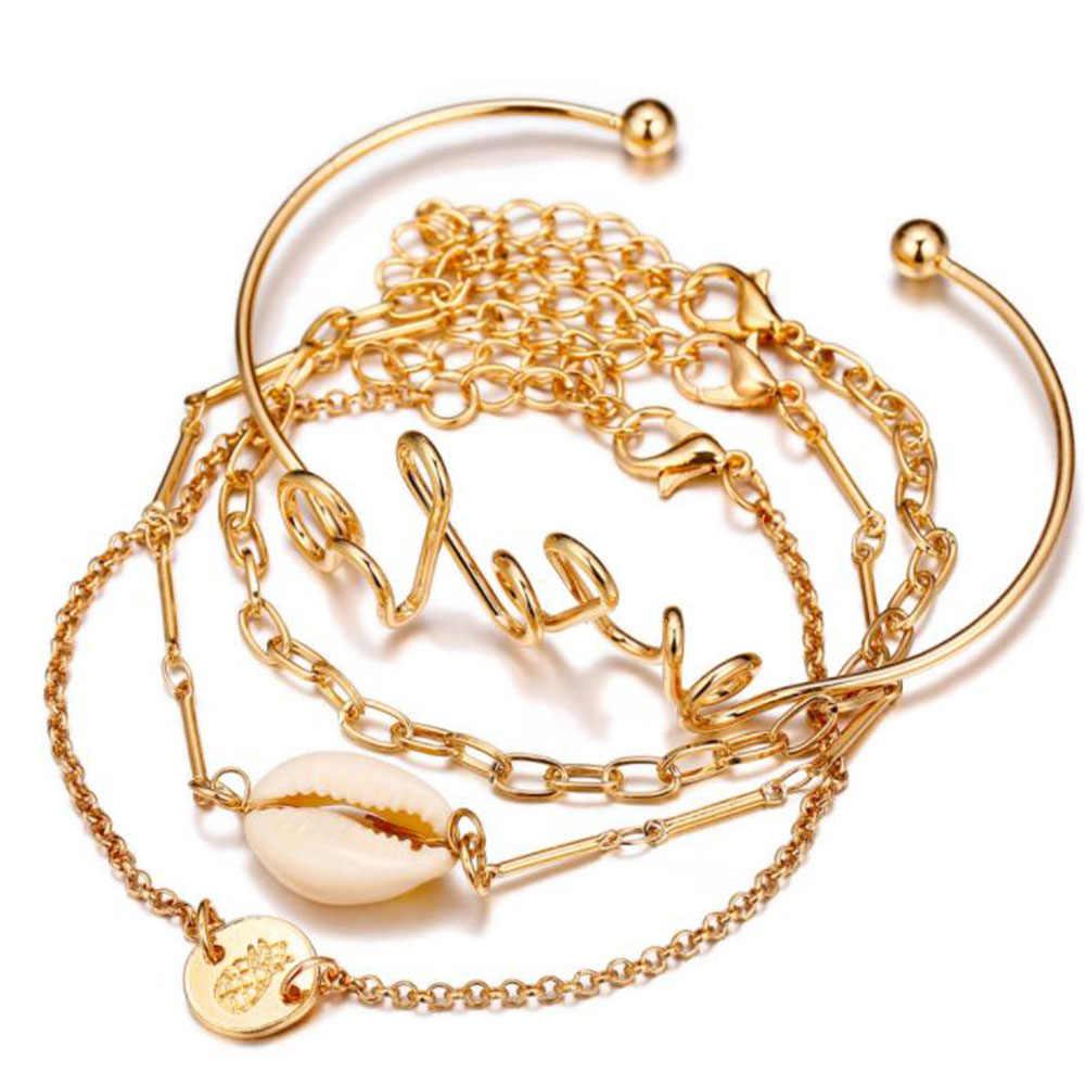 Богемные браслеты и Набор браслетов в виде ракушки карта сердце женский сплав геометрический винтажный многослойный браслет с подвеской для женщин ювелирные изделия