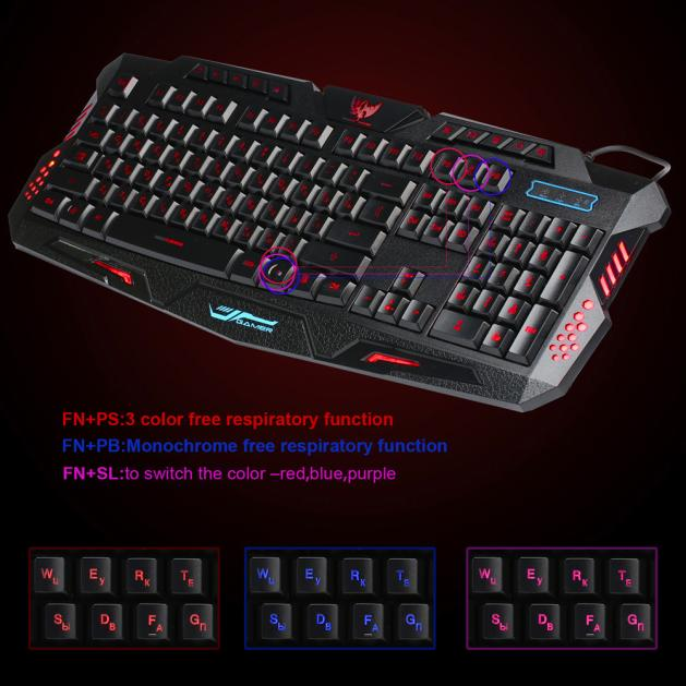 3 Colors Crack Illuminated LED Backlight USB Wired Multimedia PC Gaming Keyboard-in Keyboards from Computer & Office