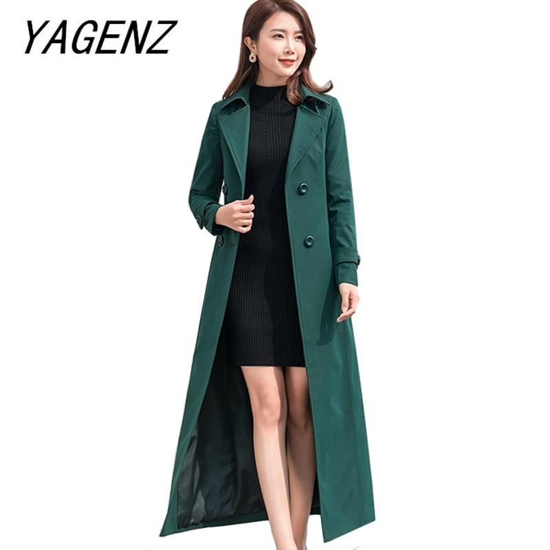 2019 Spring Women X-long Windbreaker Coat Slim Elegant Temperament   Trench   Overcoat plus size popular female brand clothing 4XL
