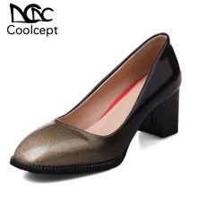 3d2641d9e Coolcept حجم 32-44 سيدة عالية الكعب مضخات مربع تو بيور كولور سميكة أحذية  ذات كعب عالي النساء لينة مكتب سيدة ناضجة footwears