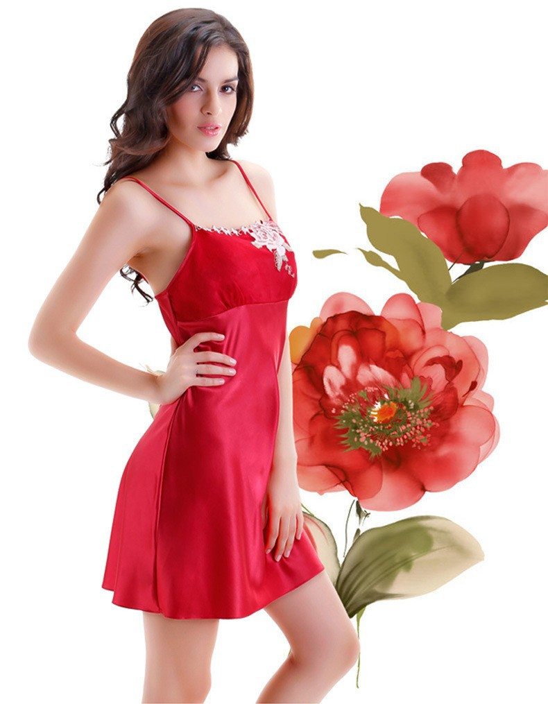 Red Satin Silk Robes and Silk Nightgown Sets for Women, Silk Nightgown side view