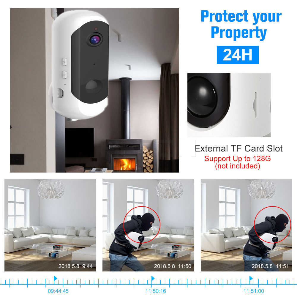 wdskivi Battery HD 1080P Mini IP Camera 100% Wireless WiFi Camera Security Surveillance CCTV Camera Baby Monitor Smart Alarm