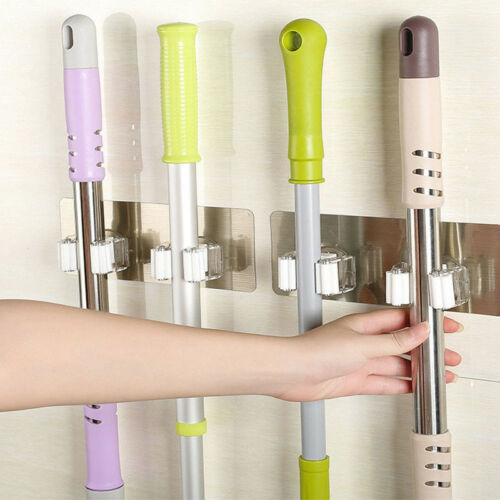 1/2PC Wall Mount Mop Broom Brush Holder Hanger Rack Cleaning Tool Bath Organizer