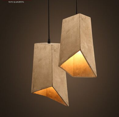 Retro desogn art cement square modern pendant light for Lampe geweih modern