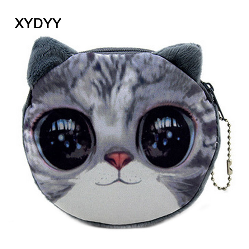 XYDYY Kawaii Women Coin Purses Simulation Cats Print Plush Portable Zipper Coin Purse Wallets Small Change Purses Pouch for Gift