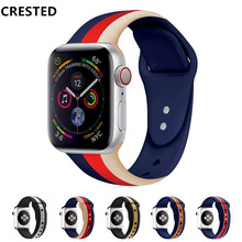CRESTED Strap for apple watch band 4 44 mm 40mm iwath 3 band 42mm Correa apple watch 38 mm Silicone bracelet watchband belt 2 1 цена