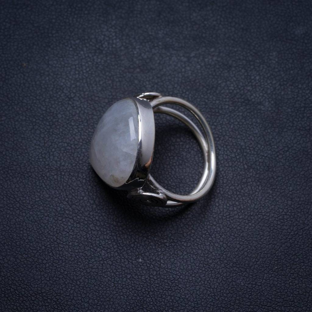 Natural Rainbow Moonstone Handmade Unique 925 Sterling Silver Ring, US size 7 X1812 natural dendritic opal handmade unique 925 sterling silver ring us size 7 75 x1648