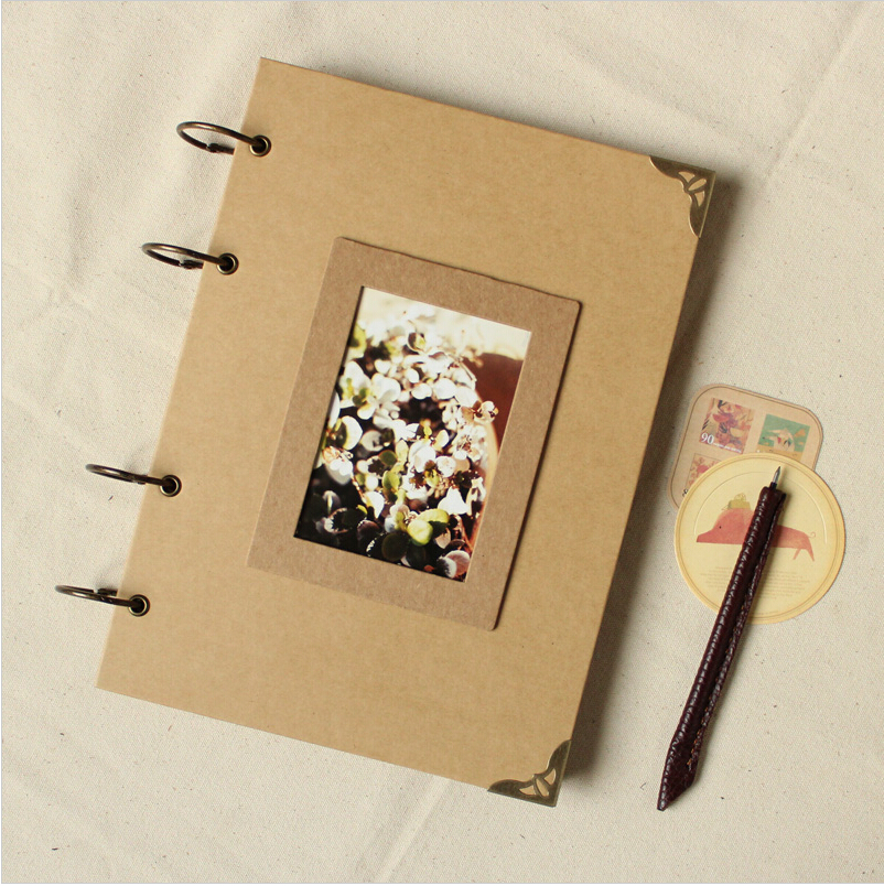 A4 Blank Diy Photo Album Scrapbook Paper Crafts Diy Handmade Cover Travel Photograph Holder 28 sheets