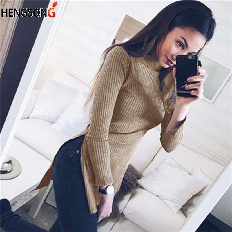 Autumn Women Casual Turtleneck Sweater Fashion Design Elegant Women Tops Split Pullovers Sweater Solid Color