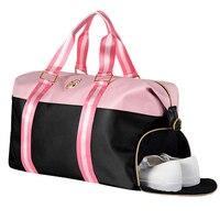 Oxford Pink Letter Printing Handbag Travel Bag Outdoor Sport Gym Fitness Shoulder Bag Independent Shoes Storage Bag Sac De Sport