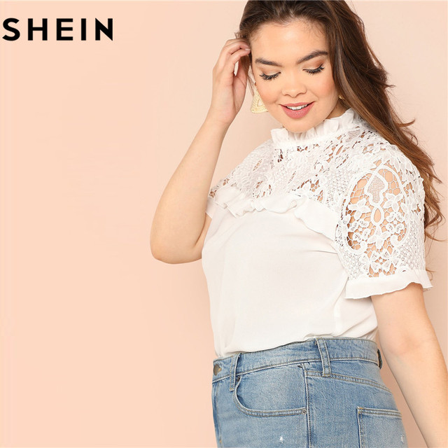 c38ed1b436 SHEIN White Ruffle Neck Raglan Short Sleeve Plus Size Woman Lace Blouses  Elegant Stand Collar Office Lady Summer Solid Blouse
