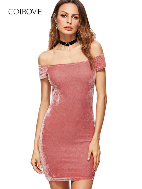 COLROVIE Off Shoulder Dress Womens Sexy Dresses Party Night Club Dress Pink  Off The Shoulder Velvet Bodycon Dress 99728d2670
