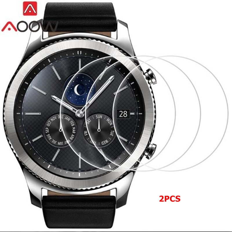 AOOW Tempered Glass For Samsung Galaxy Watch 46mm Gear S3 Frontier S3 S2 Sport Classic Screen Protector 9H 2.5D Tempered Glass