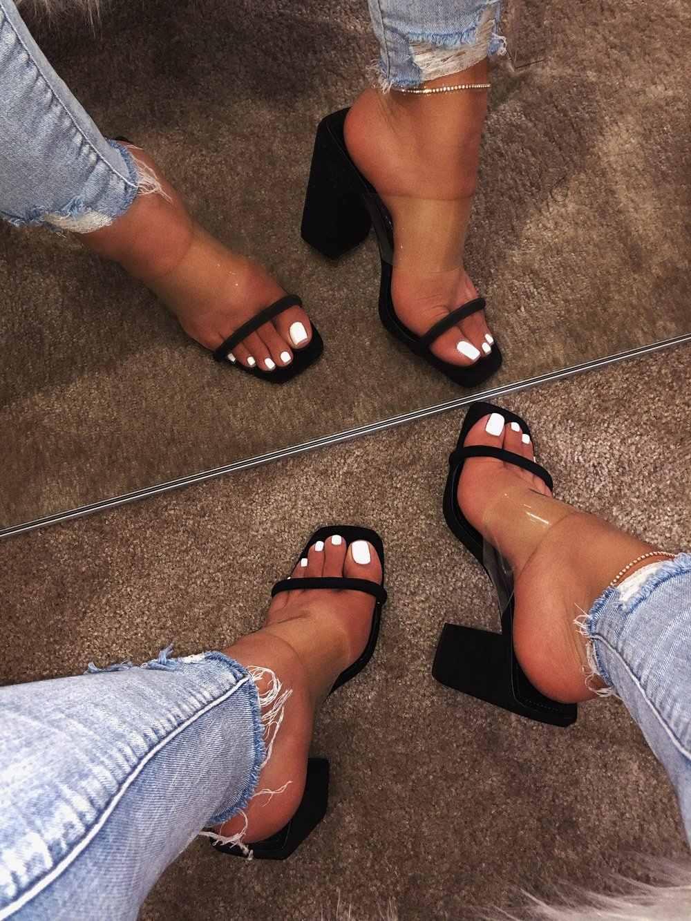 2019 été femmes sandales sans lacet talon haut noir chaussures dames en plein air vacances pantoufle 9044