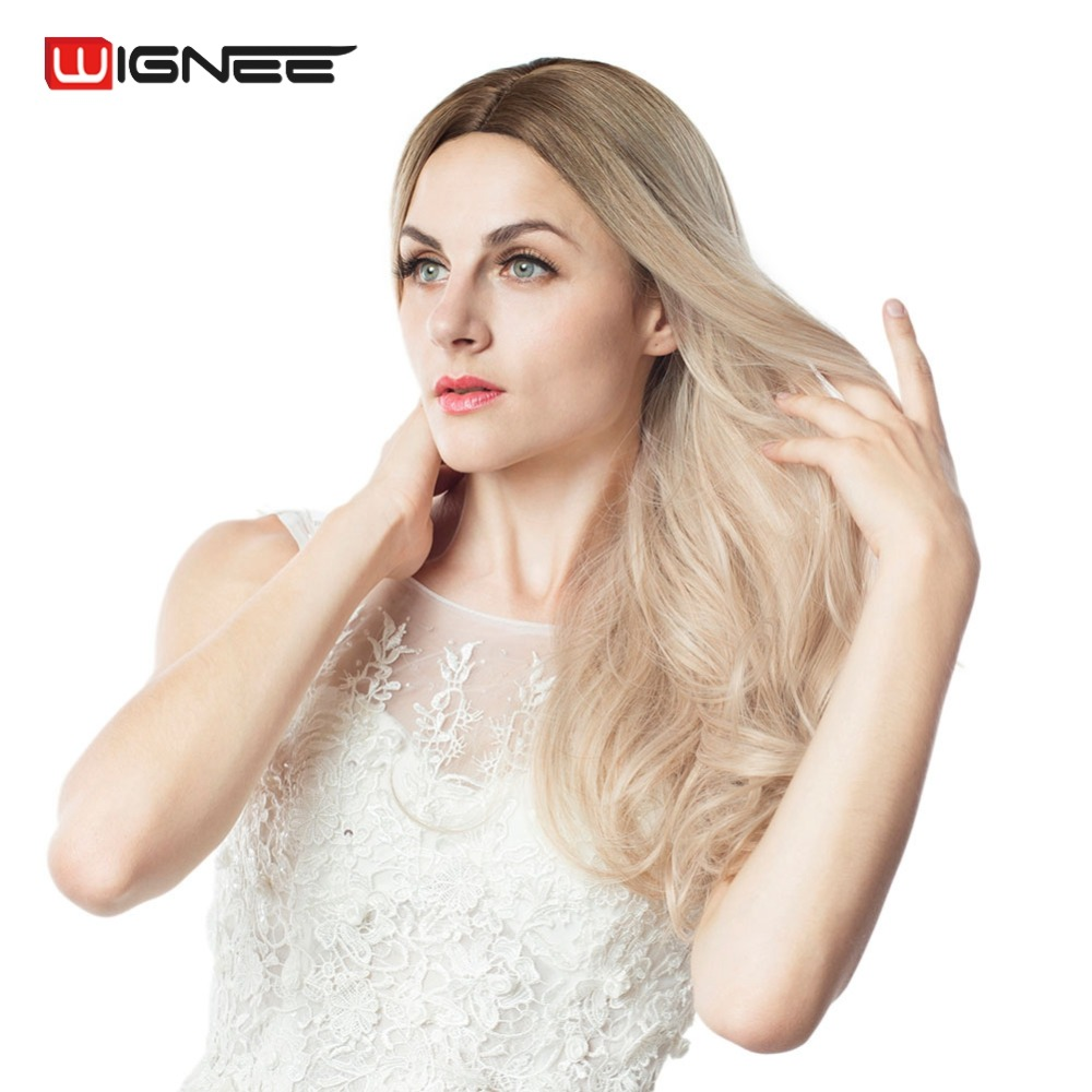 Wignee Long Ombre Brown Ash Blonde High Density Temperature Synthetic Wigs For Black/White Women Glueless Wavy Cosplay Hair Wig