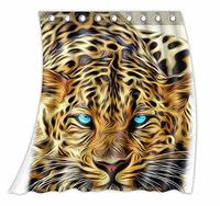 Niestandardowe Niebieskie Oczy Wild Animal Wzór Kurtyny Poliester Tkaniny Zasłony Okna Rozmiar 52 w x 63 h cala (Jeden Pie