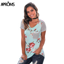 2d3956fe03074 Aproms Sweet Floral Striped Print T Shirt Ladies Short Sleeve Summer Casual  Soft T-shirt Plus Size Tee Tops for Women Clothing