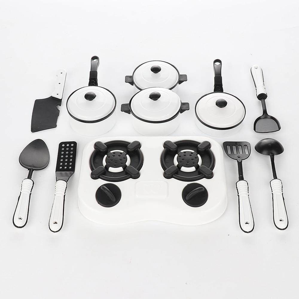 11 Pcs Children Pretend Play Kitchen Cookware Pot Pan Cook Play Toy Simulation Kitchenware Utensils Toys Set