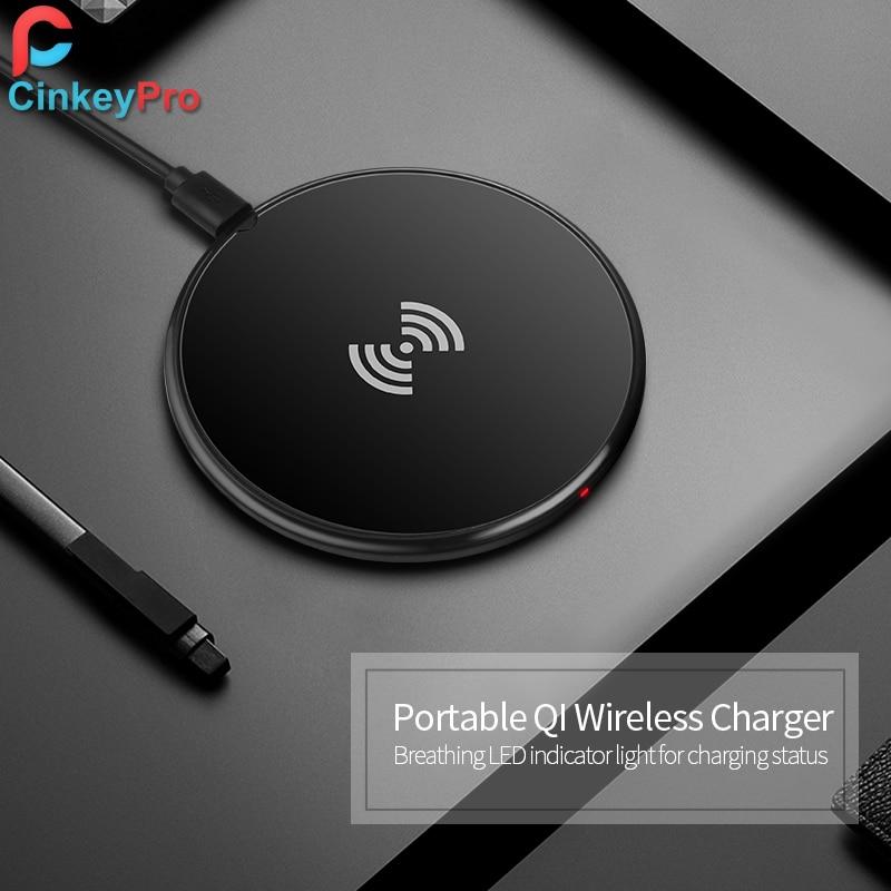CinkeyPro trådlös laddningsladdning för iPhone 8 10 X Samsung S7 S8 5V / 1A Adapter Laddning Mobiltelefon QI-enhet Universal