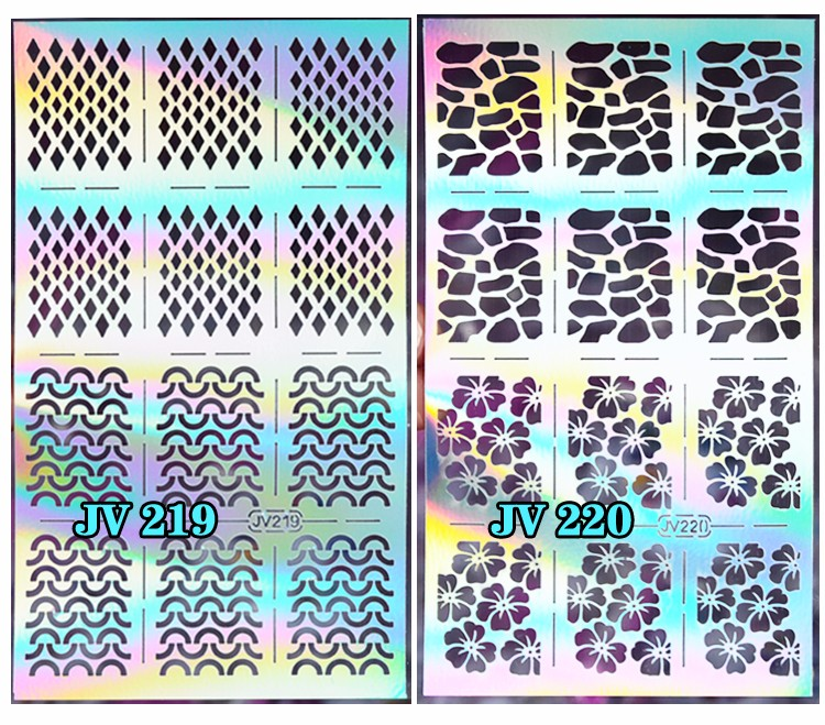 1sheet Silver Hollow Nail Art Template Stencil Stickers Fish Scale Vinyls Image Polish Design Guide Manicure Tools 12